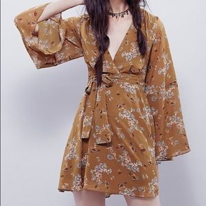 Free people yellow bell sleeve dress